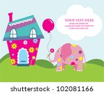 cute greeting card with fun... | Shutterstock .eps vector #102081166