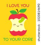 cute apple and worm... | Shutterstock .eps vector #1020814690