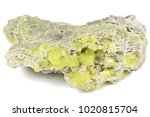 Small photo of native sulfur from Sicily/ Italy isolated on white background