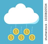 gold coins flying from cloud on ... | Shutterstock . vector #1020820534