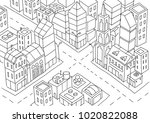 intersection of the big city... | Shutterstock .eps vector #1020822088
