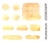 yellow watercolor brush strokes.... | Shutterstock .eps vector #1020823609
