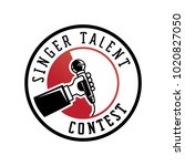 singer talent contest logo with ... | Shutterstock .eps vector #1020827050