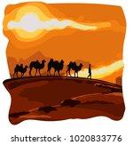 caravan of camels goes in the...   Shutterstock .eps vector #1020833776