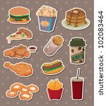 fast food stickers | Shutterstock .eps vector #102083464