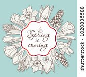 card for spring season with...   Shutterstock .eps vector #1020835588