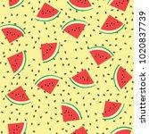 watermelon vector seamless... | Shutterstock .eps vector #1020837739
