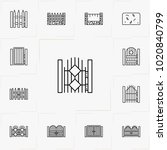 fences and wickets line icon set | Shutterstock .eps vector #1020840799