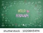 hello february greeting on...   Shutterstock . vector #1020845494