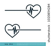 heart and pulse icon vector... | Shutterstock .eps vector #1020854284