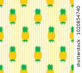 seamless pattern with pineapple ... | Shutterstock .eps vector #1020854740