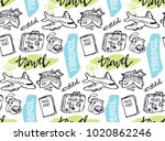 hand drawn doodle travel pattern | Shutterstock .eps vector #1020862246
