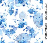 watercolor floral seamless... | Shutterstock . vector #1020862660