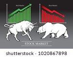 bull and bear  symbols of stock ... | Shutterstock .eps vector #1020867898