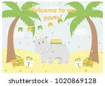 happy birthday card design.... | Shutterstock .eps vector #1020869128