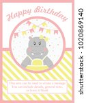 happy birthday card design.... | Shutterstock .eps vector #1020869140