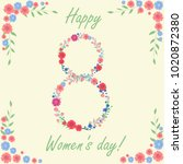 women's day card with flowers... | Shutterstock .eps vector #1020872380