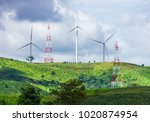 mountain wind turbines and... | Shutterstock . vector #1020874954