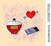 romantic love icons for... | Shutterstock .eps vector #1020877030