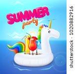 vector realistic 3d unicorn... | Shutterstock .eps vector #1020882916