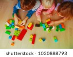 kids playing with plastic... | Shutterstock . vector #1020888793