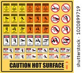 set of safety caution signs and ... | Shutterstock .eps vector #1020899719