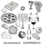 vector set of sketches on the... | Shutterstock .eps vector #1020900013