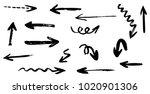 grunge hand drawn vector arrows.... | Shutterstock .eps vector #1020901306