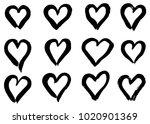 hand drawn hearts set. love... | Shutterstock .eps vector #1020901369
