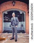 handsome man in gray suit... | Shutterstock . vector #1020910654