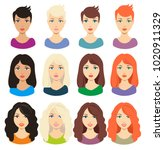 set of different girl's... | Shutterstock .eps vector #1020911329