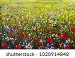Red Poppies Flower Field Oil...