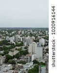 Small photo of La Plata city view, cityscape with grey sky, Argentina