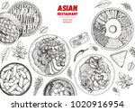 asian cuisine sketch collection.... | Shutterstock .eps vector #1020916954