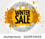 winter sale words cloud ... | Shutterstock . vector #1020919633