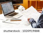 young female architect and...   Shutterstock . vector #1020919888