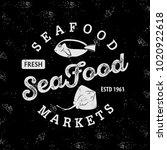seafood market logo. vintage... | Shutterstock .eps vector #1020922618