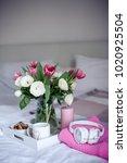 romantic breakfast in bed.... | Shutterstock . vector #1020925504