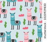 seamless pattern. cute. lama.... | Shutterstock .eps vector #1020929830