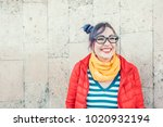 happy beautiful fashion hipster ...   Shutterstock . vector #1020932194