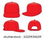 Set Red Hip Hop Cap Vector For...