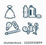 garbage wastes trash line... | Shutterstock .eps vector #1020935899