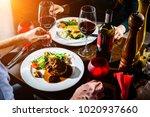 couple having romantic dinner... | Shutterstock . vector #1020937660