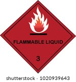flammable liquid sign on red... | Shutterstock .eps vector #1020939643