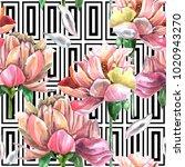 watercolor seamless pattern of ... | Shutterstock . vector #1020943270