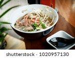 ramen soup with veal meet and...   Shutterstock . vector #1020957130