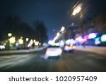 view of blurred road with lots... | Shutterstock . vector #1020957409