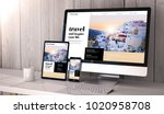 digital generated devices on... | Shutterstock . vector #1020958708