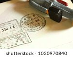classic visa stamped on...   Shutterstock . vector #1020970840