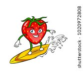 strawberry surfboard on the... | Shutterstock .eps vector #1020972808
